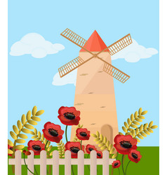 Mill in the summer poppy flowers provence vector
