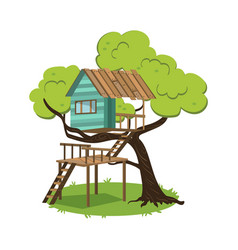 Modern hut on branches of tree poster vector