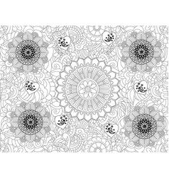 monochrome floral pattern hand drawn vector image