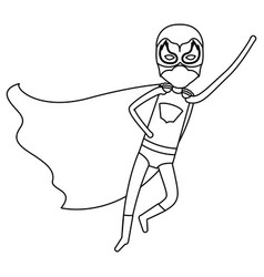 Monochrome silhouette faceless of superhero boy vector