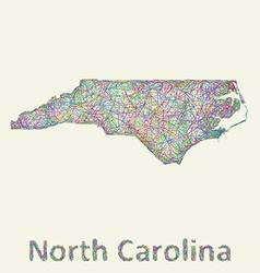 North carolina line art map vector