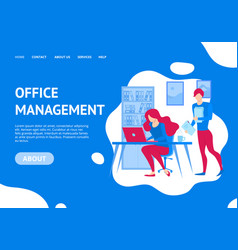 office management concept landing web page vector image