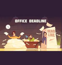 Office paperwork deadline cartoon poster vector