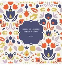 Ornamental folk tulips frame seamless pattern vector
