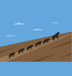 pack of wolfes leadership concept vector image