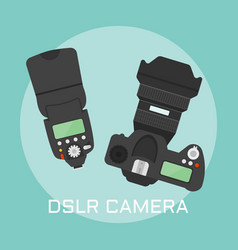 Professional dslr photo camera vector