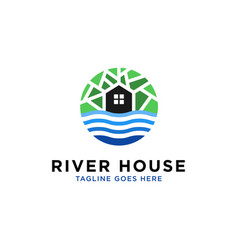 River house logo design inspiration vector