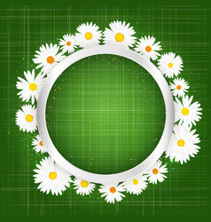 round floral frame with daisy and lights effect on vector image