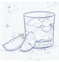 Rusty Nail Cocktail on a notebook page vector image