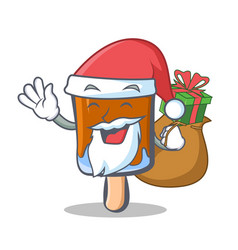 Santa ice cream character cartoon with gift vector