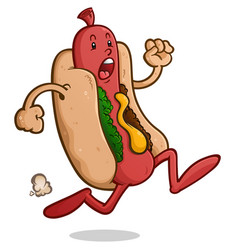 scared running hot dog cartoon character vector image