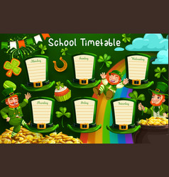 School timetable or schedule on st patrick hats vector