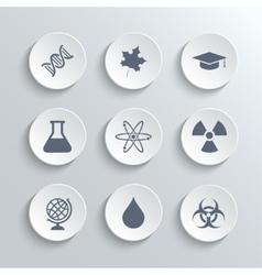 Science icons set - white round buttons vector image