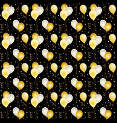 seamless balloon and confetti pattern on black vector image