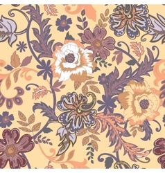 Seamless floral background isolated beige flowers vector