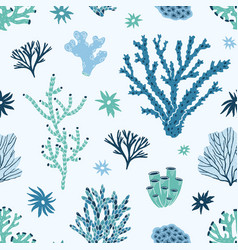 seamless pattern with blue and green corals vector image