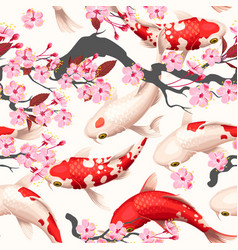 seamless pattern with koi fish and sakura vector image