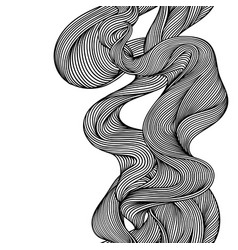 seamless pattern with wave line curls monochrome vector image