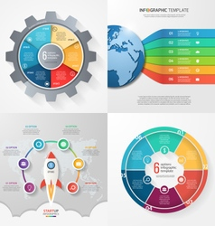 Set 4 infographic templates with 6 processes vector