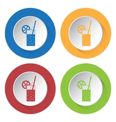 Set of four icons carbonated drink straw citrus vector