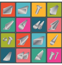 Set of metal profiles icons vector