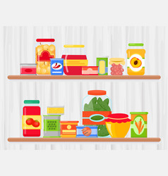 shelf in grocery store vector image