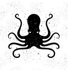 silhouette of octopus icon stilized logo design vector image