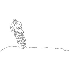 single continuous line drawing young motocross vector image