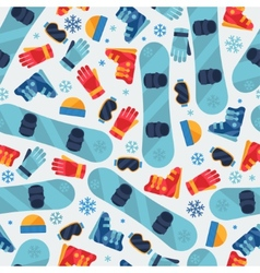 Sports seamless pattern with snowboard equipment vector image