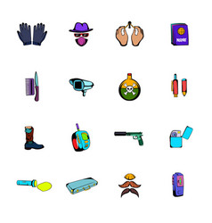 spy comics icons set cartoon vector image