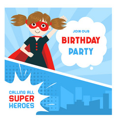 Superhero birthday party banner cute girl in vector