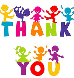 THANK YOU concept with happy children vector image