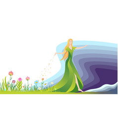 the girl sowing the seeds for flowers and grass vector image