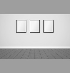 three frames on a wall mock up modern vector image