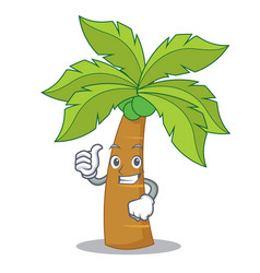 thumbs up palm tree character cartoon vector image vector image