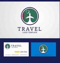 Travel turkmenistan creative circle flag logo vector