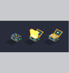 treasure chests open and closed boxea game user vector image