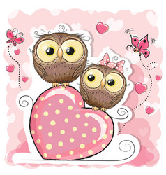 Two cute cartoon owls and heart vector