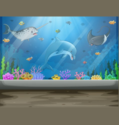 Underwater museum with fishes and algae big aquari vector