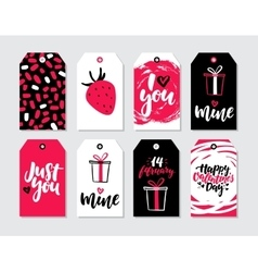 Valentines day gift tag set Collection of vector image
