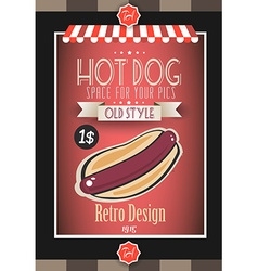 Vintage HOT DOG poster template for bistro vector image
