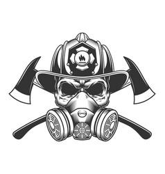 Vintage monochrome firefighter skull vector