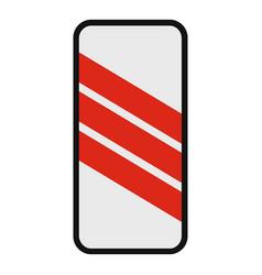 warning of railway icon flat style vector image