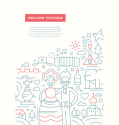 welcome to russia - line design brochure poster vector image