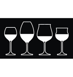 Wine Glasses On a Black Background vector image