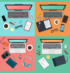 workplace concept set modern gatgets top view vector image