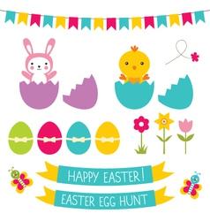 Easter hunt set vector image vector image