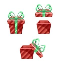 Gift Box New Year Cartoon Flat Design Icon Set vector image