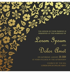 invitation card dark with gold vector image vector image