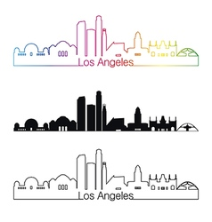 Los Angeles skyline linear style with rainbow vector image